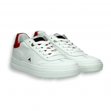 White calf and red detail Tennis sneaker rubber sole