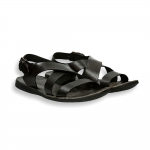 Black vintage calf crossed belt sandal rubber sole