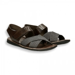 Dark brown calf and canvas crossed belt monk sandals rubber sole