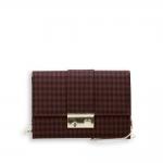 Pocket bag with shoulder chain pie-de-poule fabric bordeaux and black size 22x7h15 cm.