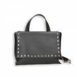 Black calf with stud detail small bag , shoulder belt and chain Size 29x12h25 cm.