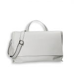 White elk calf big flap bag w/sholder belt size 39x16h24 cm.