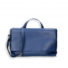 Blue elk calf big flap bag w/sholder belt size 39x16h24 cm.