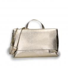 Gold laminated calf big flap bag w/sholder belt size 39x16h24 cm.
