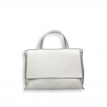 White elk calf small flap Bag with shoulder belt size 27x10h19 cm.