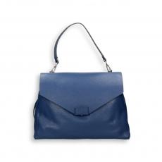 Blue elk calf handbag w/detach. shoulder belt size 35x15h27 cm.