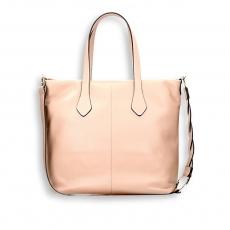 Powder calf vertical shopping bag with weaved shoulder belt size 35x15h32cm.