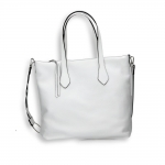 White calf vertical shopping bag with weaved shoulder belt size 35x15h32cm.