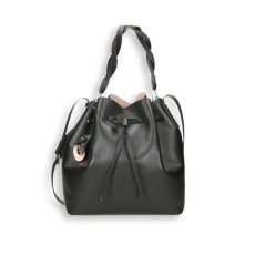 Black calf bucket bag size 26x15h29 cm.