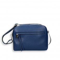 Blue elk calf double zipped shoulder belt brick bag size 23x9h18 cm.