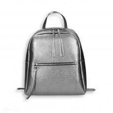 Gunmetal laminated calf big zipped backpack size 28x12h34 cm.
