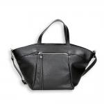 Black calf zip and shoulder belt two handle shopping bag
