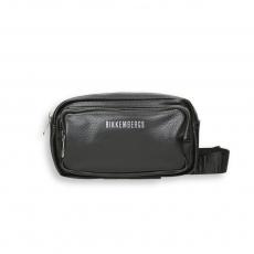 Black eco leather double zip logo belt bag