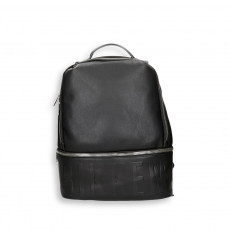 Black eco leather logo backpack size cm.31x14h40