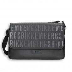 Black eco leather logo messenger bag size 40x10h28 cm.
