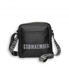 Black eco leather logo reporter with shoulder strap